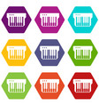 synthesizer icons set 9 vector image