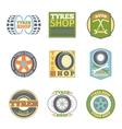 Tyre shop vintage flat badges vector image vector image