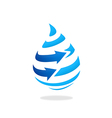 water drop arrow stripe logo vector image vector image