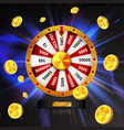 wheel of luck with gold coins object isolated on vector image vector image