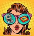 woman with sunglasses pop vinyl record vector image