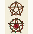 wooden pentacles and roses vector image