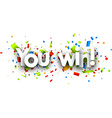 You win paper banner vector image vector image