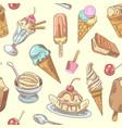 ice cream hand drawn seamless background vector image