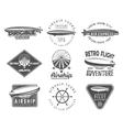 Vintage airship logo designs set Retro Dirigible vector image