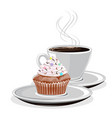 coffee mug and cupcake vector image