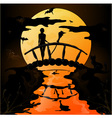 Halloween silhouette of a young witch flying on a vector image