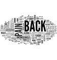 back pain text word cloud concept vector image vector image