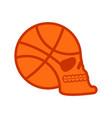 basketball skull sport fans emblem ball skeleton vector image