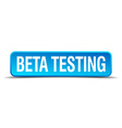 beta testing blue 3d realistic square isolated vector image