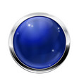 blue round button with chrome frame vector image