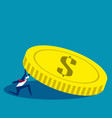 businessman holding coin concept business weight vector image