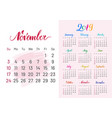 calendar 2019 november separately white-pink vector image vector image