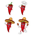cartoon chili collection set vector image vector image