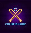 championship neon label vector image vector image