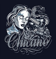 chicano tattoo vintage template vector image