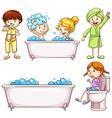 Children brushing teeth and taking bath vector image vector image