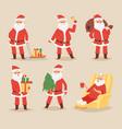 christmas santa claus character poses vector image vector image