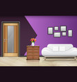 closed wood door with white sofa and pillows on pu vector image