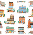colorful buildings exterior seamless pattern hand vector image