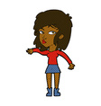 comic cartoon woman playing it cool vector image vector image