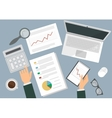 desk a businessman flat top view vector image vector image