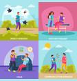 diseases transmission ways 2x2 design concept vector image