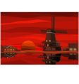 Dutch landscape at sunset vector image
