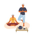elderly couple meditating doing yoga at home vector image vector image