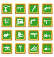 electric tools icons set green vector image vector image