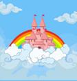 fantasy princess castle in cloudy sky with rainbow vector image