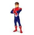 friendly superhero crossing arm vector image vector image