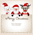 funny postcard with christmas reindeer santa and vector image vector image