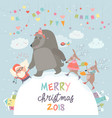 happy santa reindeers and bear celebrating vector image vector image