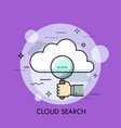 human hand holding magnifying glass and cloud vector image