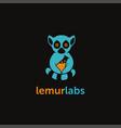 lemur beaker laboratory logo on black background vector image vector image