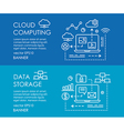 Line art web banner for cloud computing and data vector image vector image