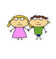 man and woman hold hand flat cartoon character vector image vector image