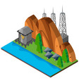 mountain scene with solar cells vector image vector image