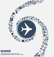 Plane icon sign in the center Around the many vector image