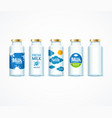 realistic detailed 3d milk bottle template set vector image