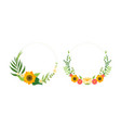 round frames set floral border made yellow vector image