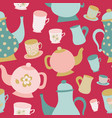seamless pattern of teapots and cups vector image