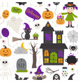 seamless pattern with halloween elements on white vector image vector image