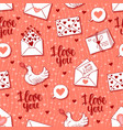 seamless pattern with letters hearts dove vector image vector image