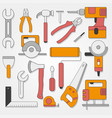 set of hand tools in flat style on gray background vector image vector image