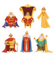 set of king in cartoon style vector image