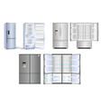 set realistic refrigerator with one door vector image vector image