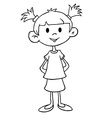 simple black and white little girl in dress vector image vector image