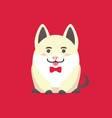 sitting white pig with bow isolated on red vector image